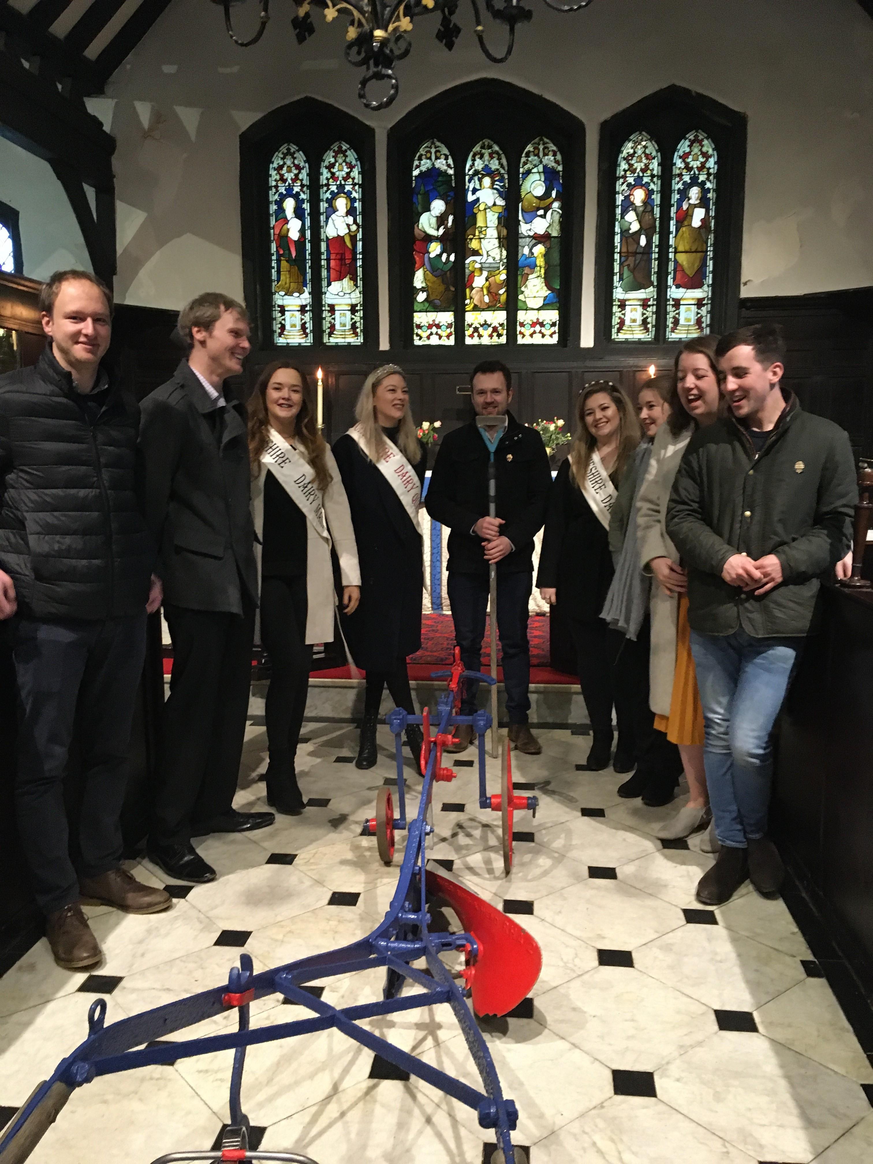 Cheshire YFC members and plough