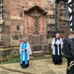 War memorial with Vicar and Reader