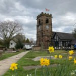 St Oswald's with daffodils